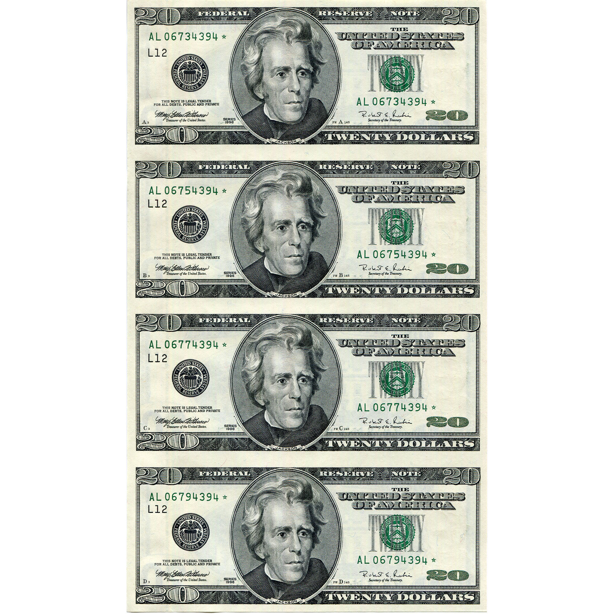 20 Uncut Currency Sheets