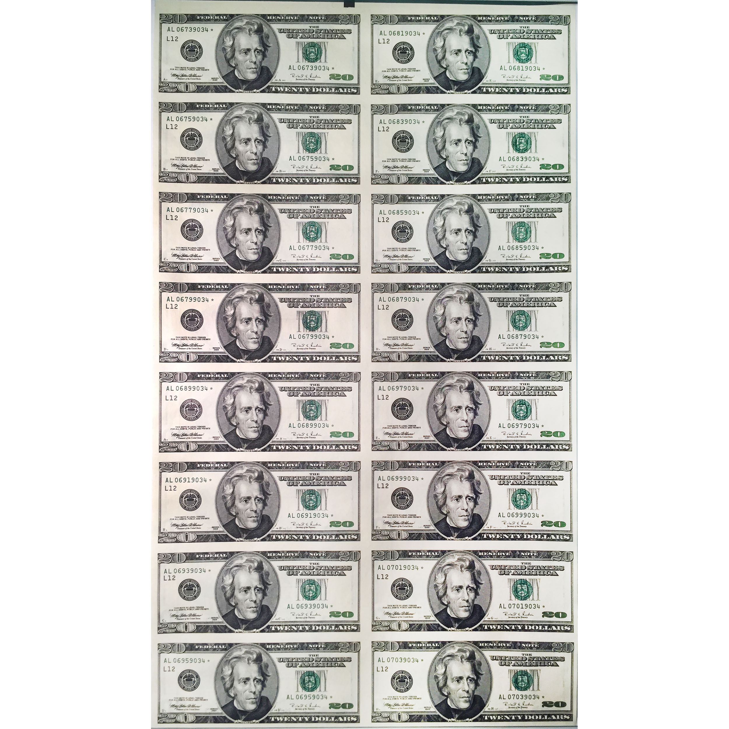 Uncut Currency Sheet 16 X 20 Star Unc