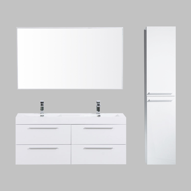 60 sofia white with double sink acrylic countertop