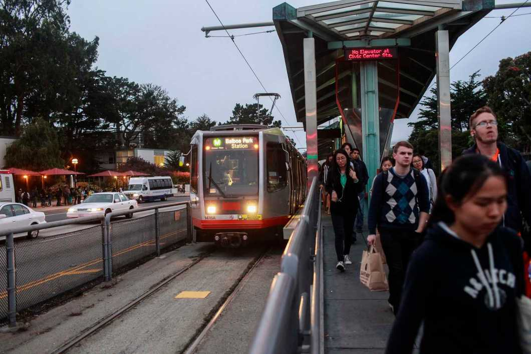 SF State students load on and off of the outbound M-line train at the 19th and Holloway stop, going toward Balboa Park, Sept. 23, 2013. There is a recent proposal to move the stop to Park Merced to cut down on car collisions with students crossing 19th avenue. Photo by Mike Hendrickson / Xpress
