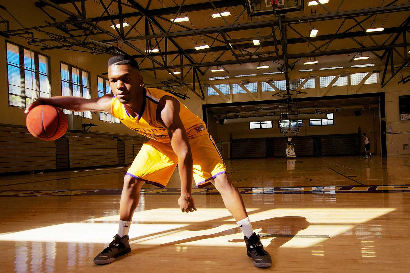 Calvin Otiono, a SF State basketball player, poses for a portrait at SF State Friday Sept. 27, 2013. Photo by Kate O'Neal / Xpress