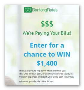 GOBankingRates - We're Paying Your Bills! Sweepstakes