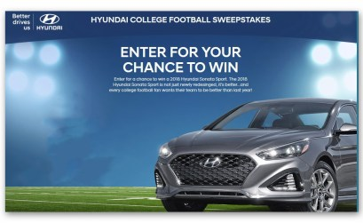 Hyundai College Football Sweepstakes – Ends Nov 25th