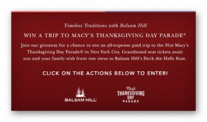 Timeless Traditions with Balsam Hill: Win A Trip to the Macy's Thanksgiving Day Parade