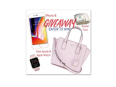 Winner's Choice iPhone 8, Kate Spade bag and Apple Watch, or $600 PP Cash - Ends July 22nd