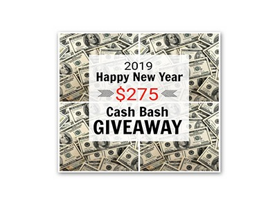 Happy New Year $275 Cash Bash Giveaway - Ends Jan 27th