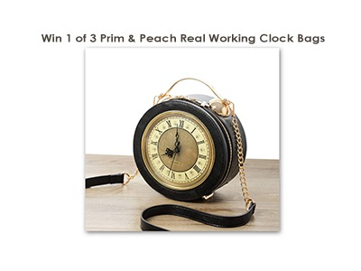Win a real working clock Prim & Peach Bag