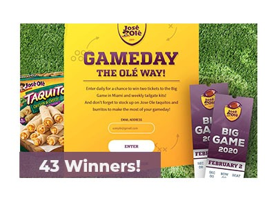 Jose Ole Game Day Text to Win Sweepstakes