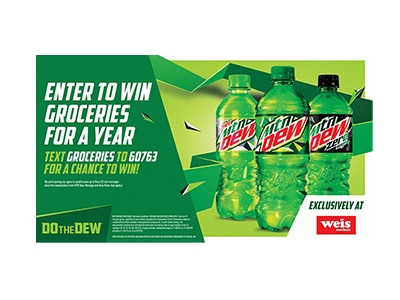 Mountain Dew Groceries for a Year Text Sweepstakes