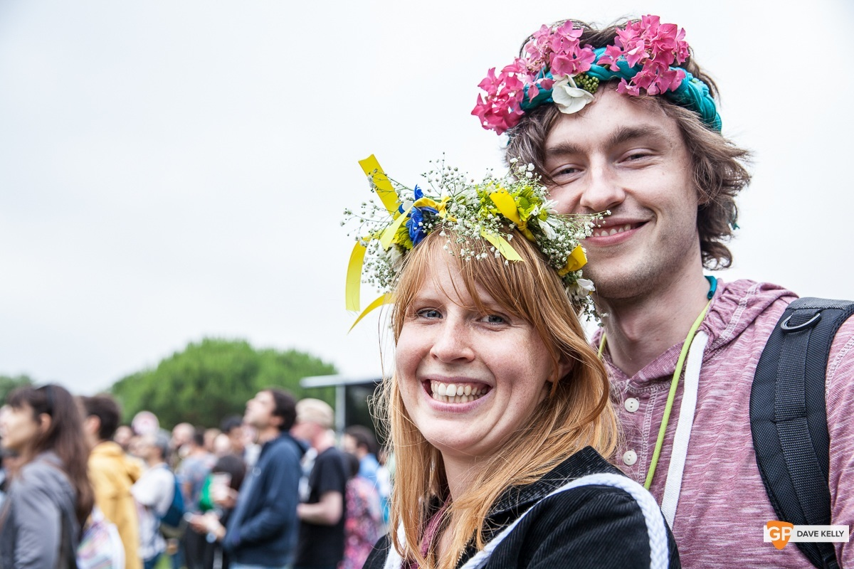 Couple with flowers in their hair at NOS Primavera Sound, Porto by David Kelly