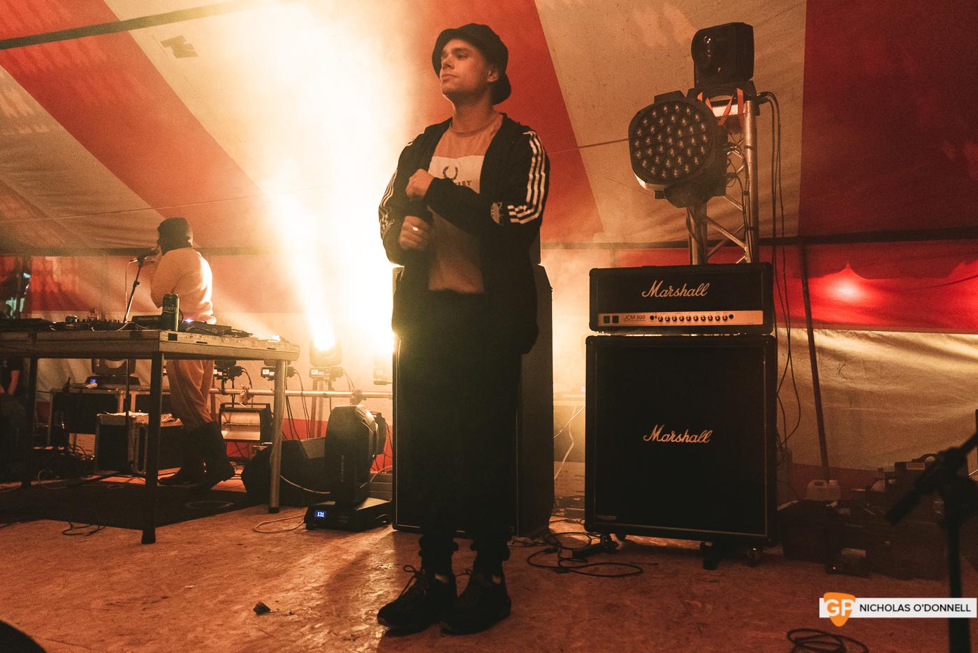KNEECAP performing on the Dimestore stage at KnockanStockan 19.
