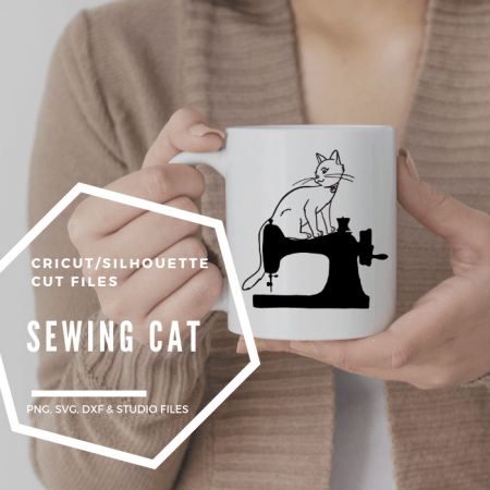 cat on sewing machine cut image