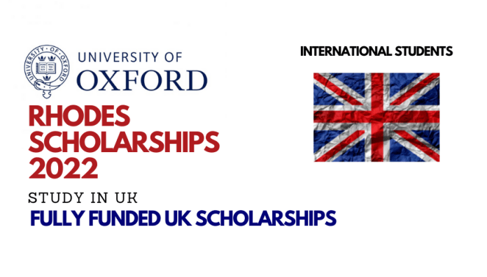 Rhodes Trust Global Scholarships 2022 for International Students to Study at University of Oxford, UK
