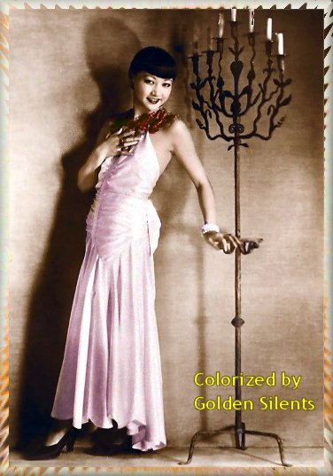 Anna May Wong 1920's postcard - colorized by Golden Silents, goldensilents.com