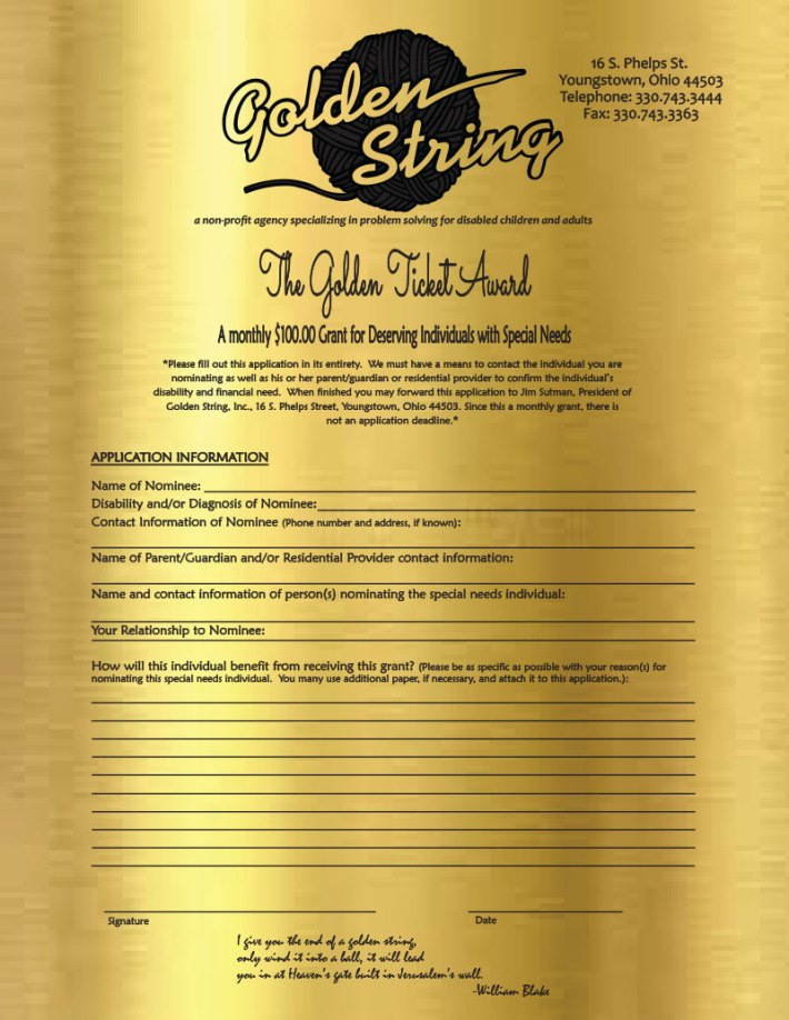 Golden Ticket Award form