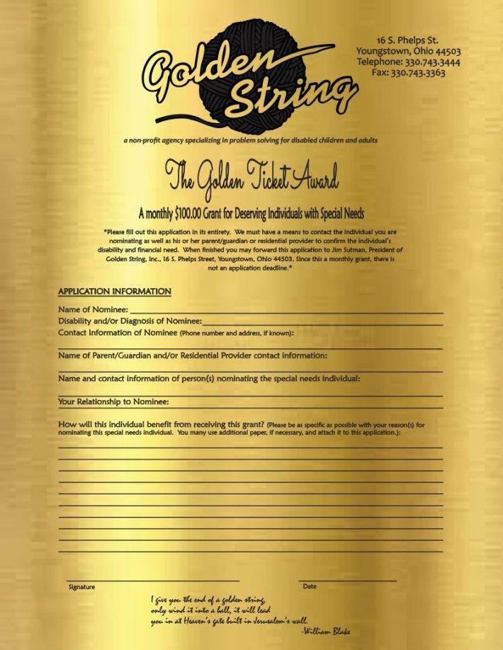 Golden Ticket Award form