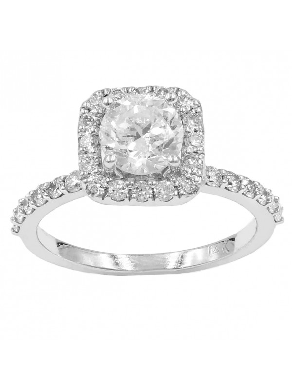 Semi Square Halo With Round Cut Diamond Engagement Ring
