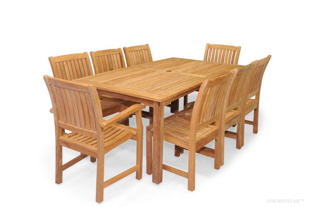 teak patio dining set for 8 rectangular table 8 millbrook chairs premium teak