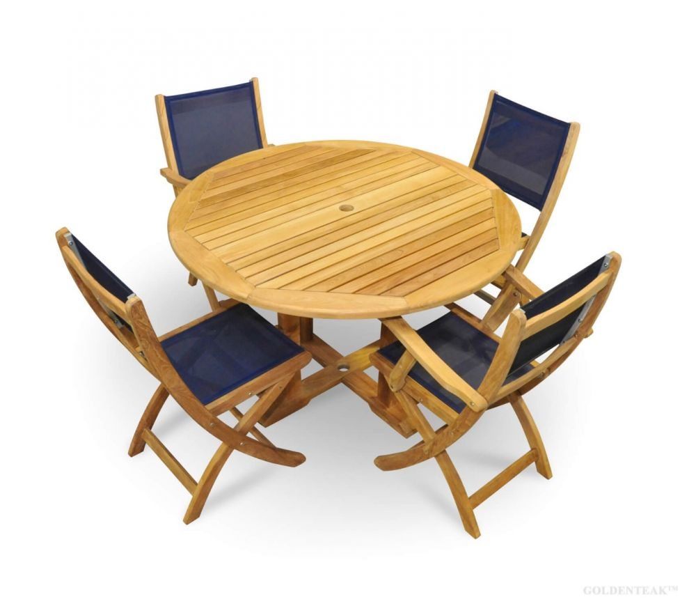 teak patio dining set round table navy folding chairs seats 4