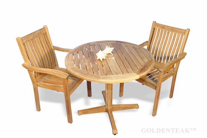 teak dining set for 2 round table and 2 stacking chairs