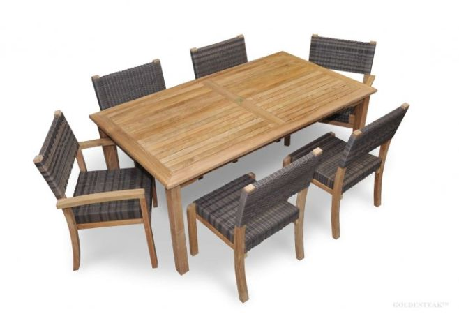 Teak Patio Dining Set for 6   Teak and Wicker   Goldenteak Teak Westport Dining Set for 6  Teak   Wicker Stacking Chairs
