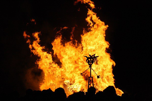 Burning effigy on Bonfire Night