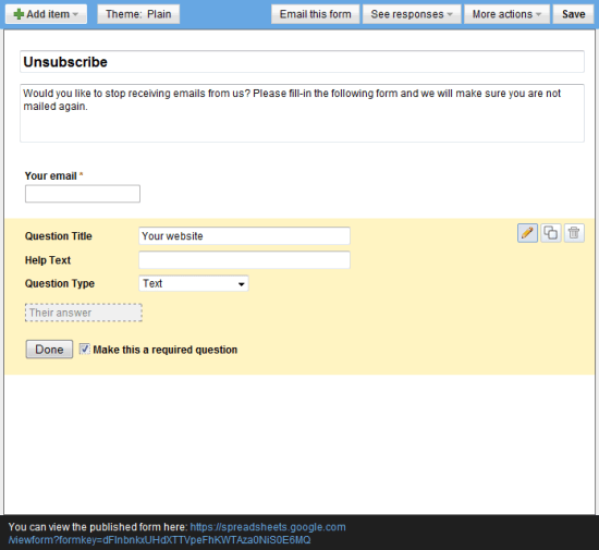 Unsubscribe Form Creation