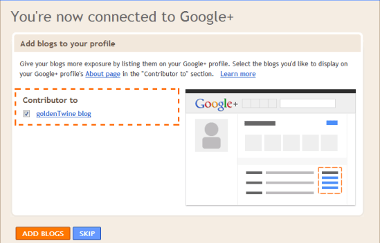 Connect Blogger Blog to Google+ Profile