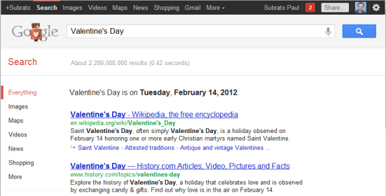 Valentine's Day Search Results