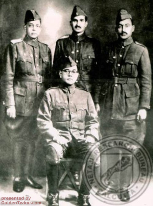 Subhas Bose with INA officers