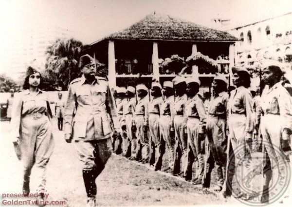 Subhas Bose with women's regiment
