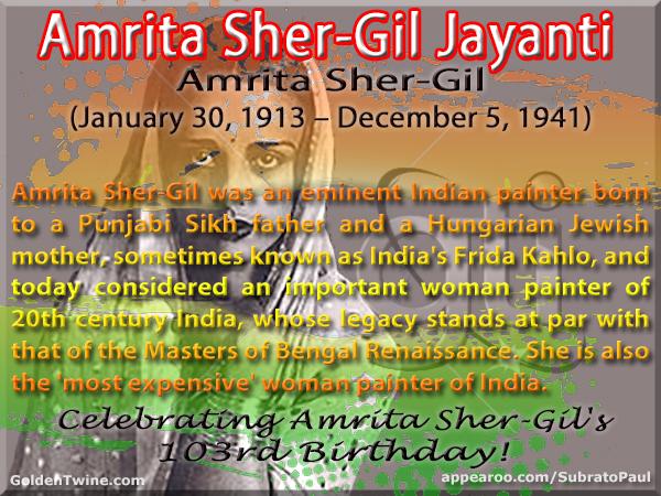 Amrita Sher-Gil 103rd Birthday