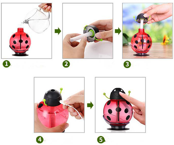 LED Beetles USB Air Ultrasonic Humidifier Usage