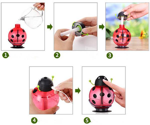 LED Beetles USB Air Ultrasonic Humidifier Usage