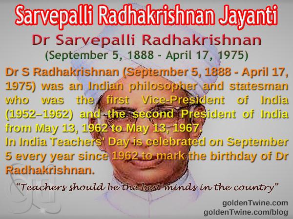 Birth Anniversary of Dr Sarvepalli Radhakrishnan