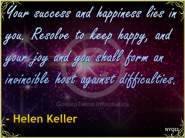 New Year Quote by Helen Keller - NYQ11