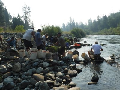 Gold mining on the Klamath River