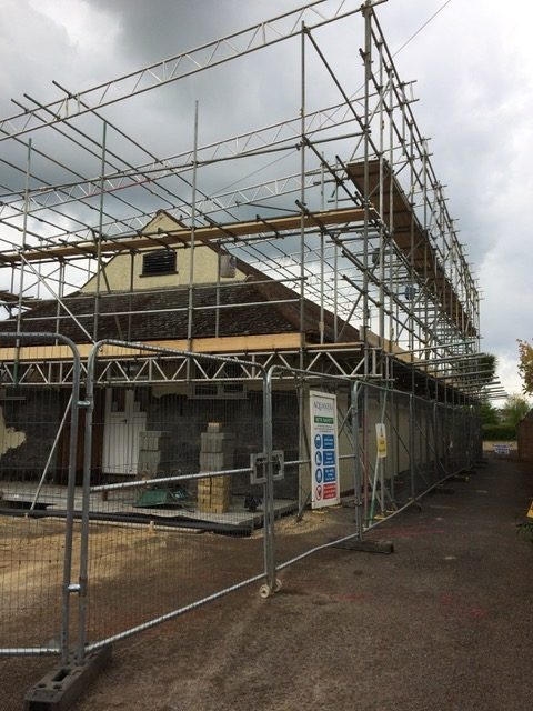 Image - scaffolding going up