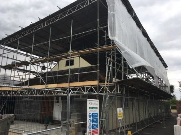 image - temporary roof being fitted over the hall