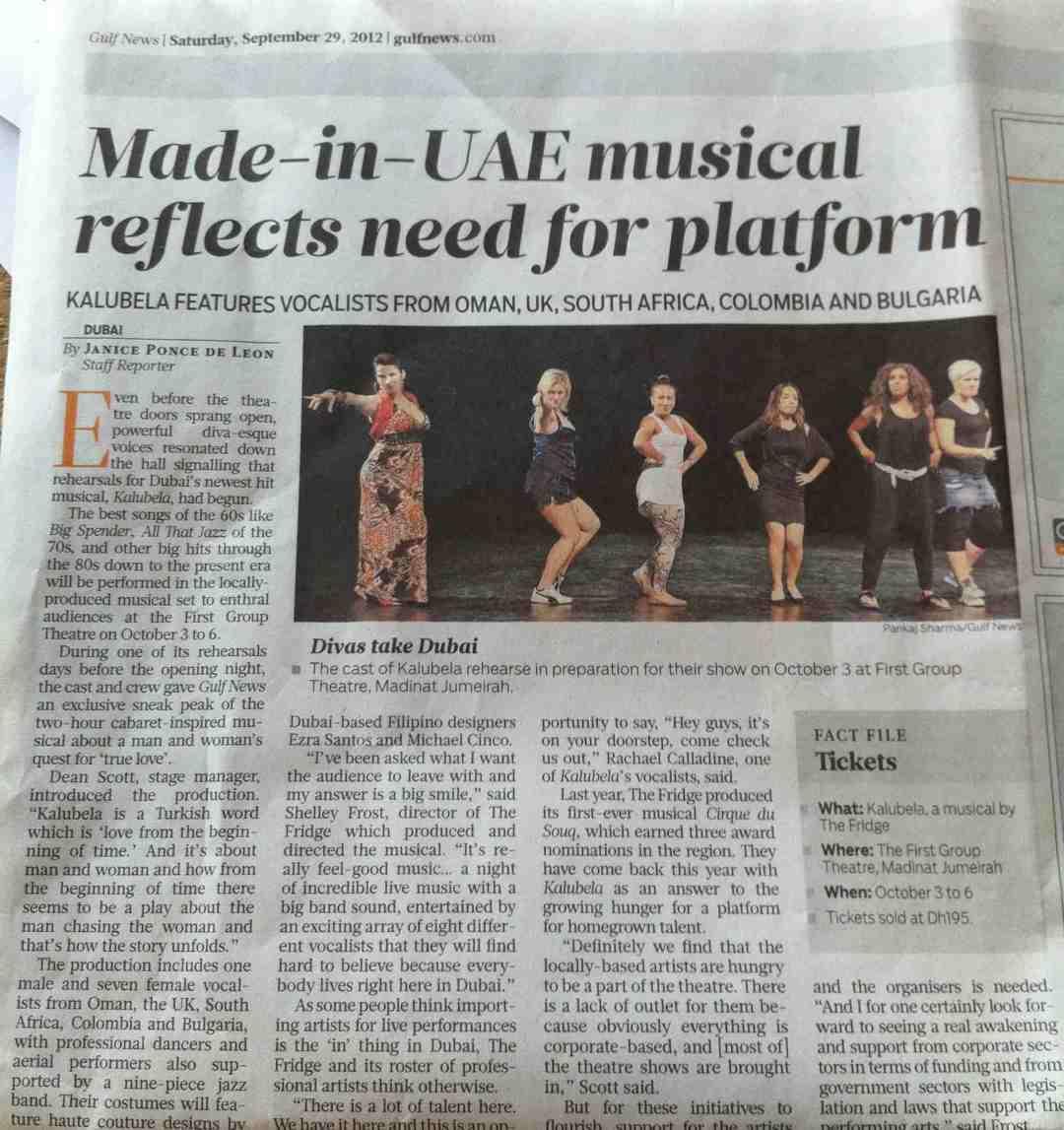 Kalubela Gulf News 2012, Dubai
