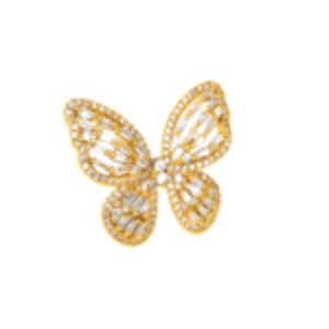 Large Butterfly Ring, gold butterfly ring on model