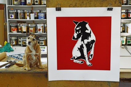 Blek with studio guard dog, Dylan.