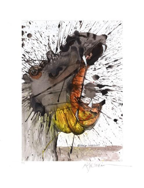 Ralph Steadman - Hippopotamus - Hand debossed giclee - 2017