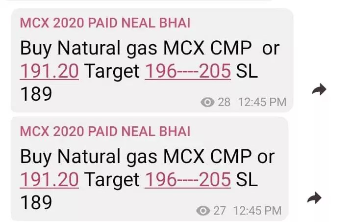 MCX Natural Gas Target For Today