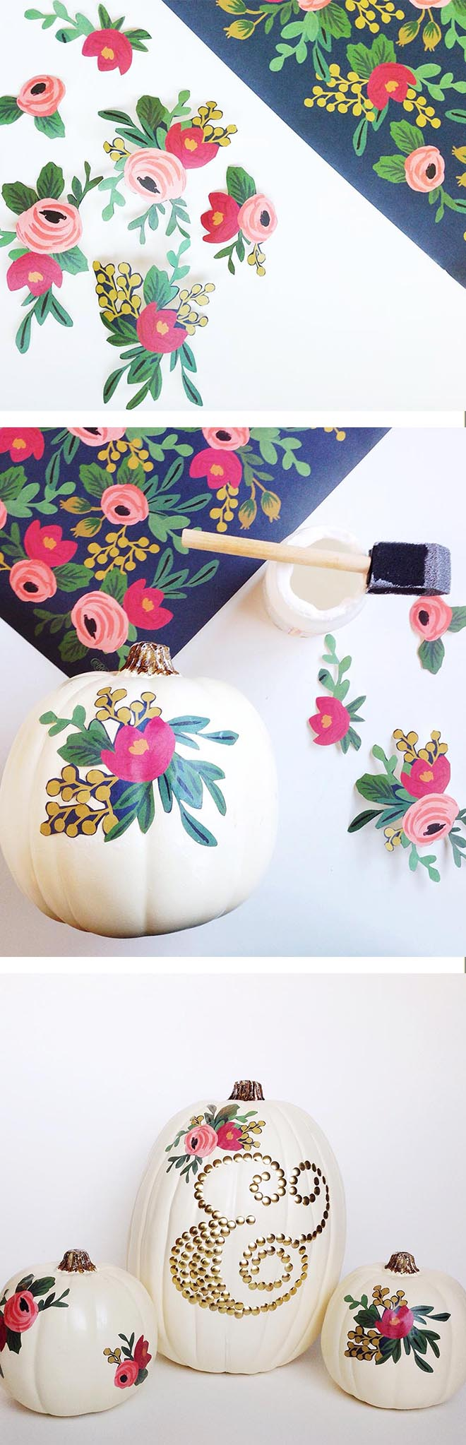 DIY Decoupage Pumpkins--perfect as pretty Halloween pumpkins or a Thanksgiving centerpiece.