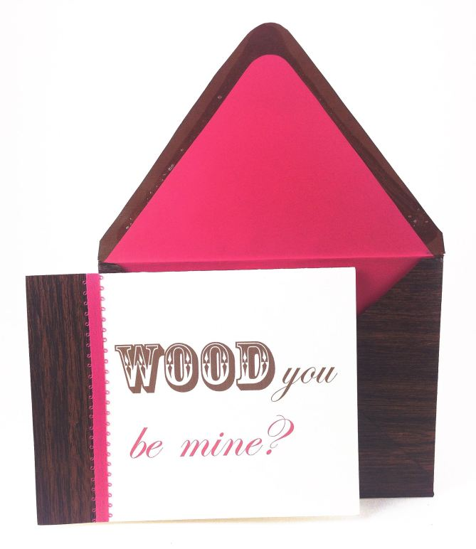 DIY Woodgrain Valentine Card