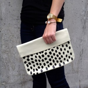 DIY painted clutch black white 10