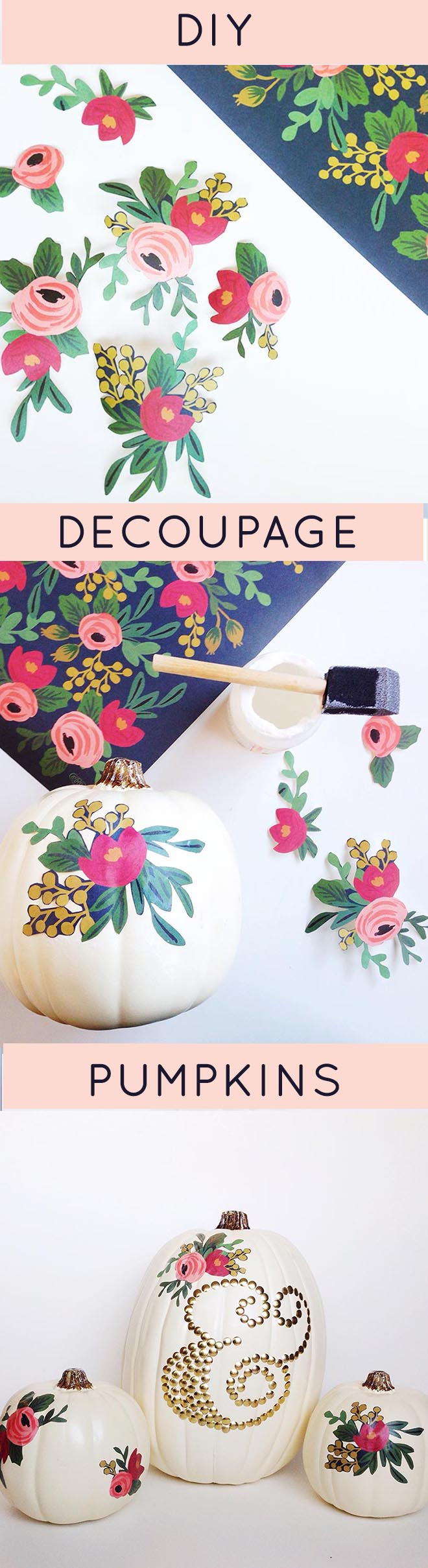 DIY Decoupage Pumpkins would be beautiful as a Thanksgiving centerpiece or as fall wedding decor.