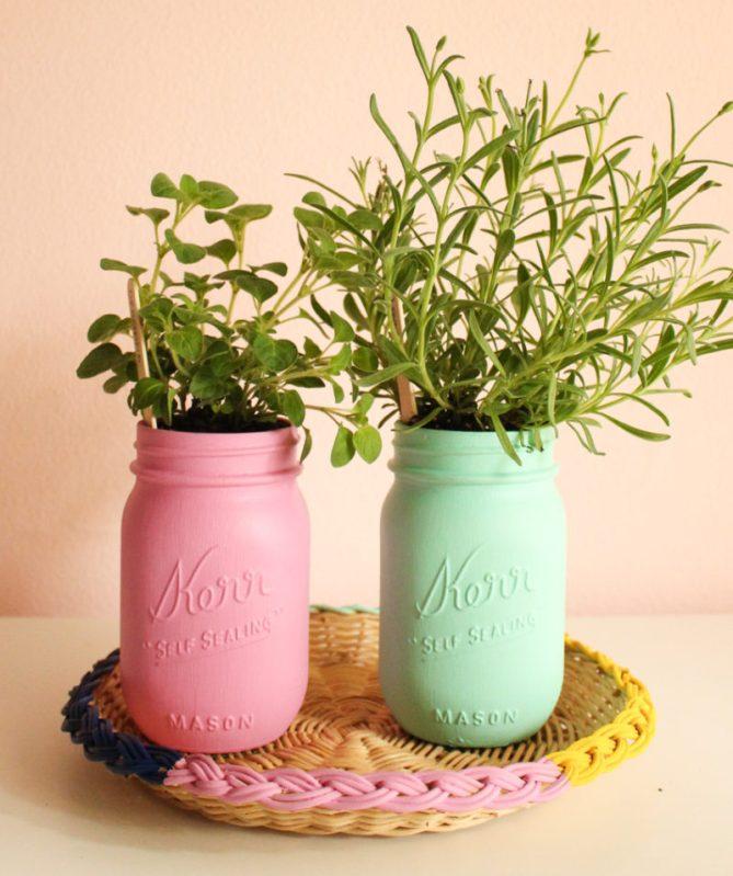 DIY Painted Mason Jar Herb Garden & Tray by Gold Standard Workshop