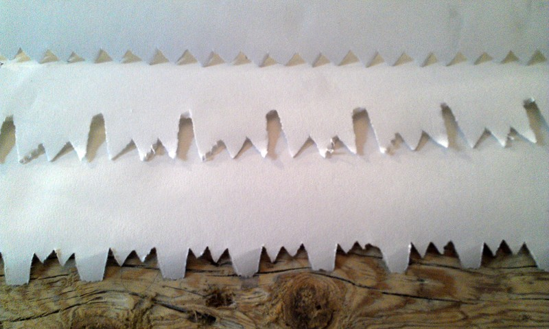 Paper cuts made from saw blades